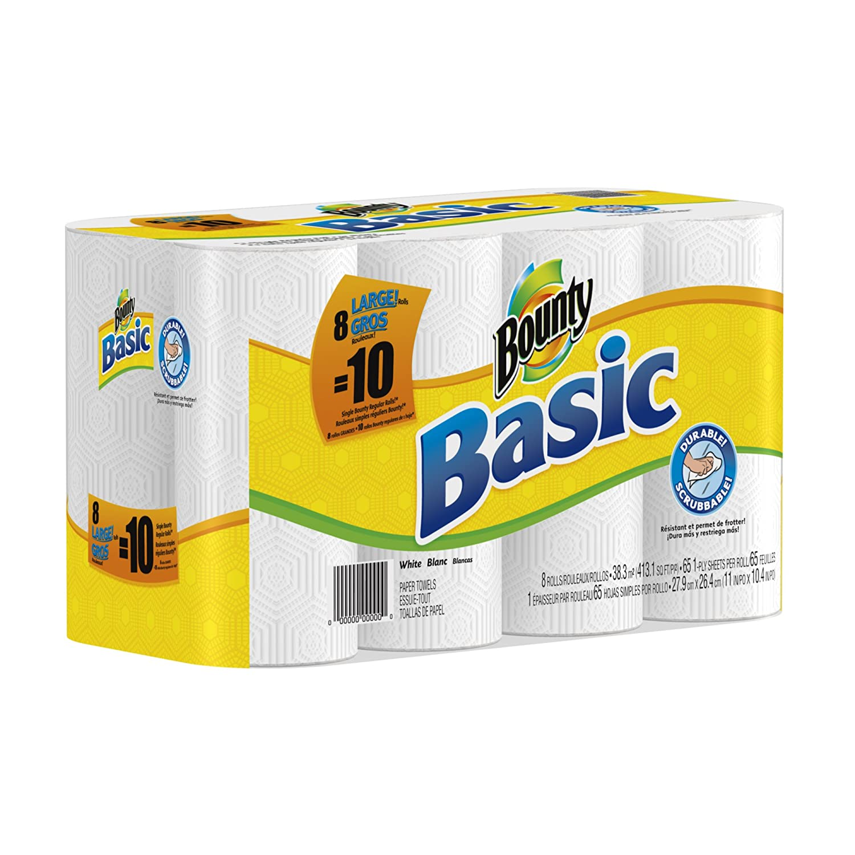 Bounty Basic Paper Towels 8 Large Rolls Equal 10 Regular Rolls