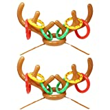 JOYIN Set of 2 Inflatable Reindeer Antler Toss Game for Christmas Party-One Size Fit All (2 Antlers 12 Rings)