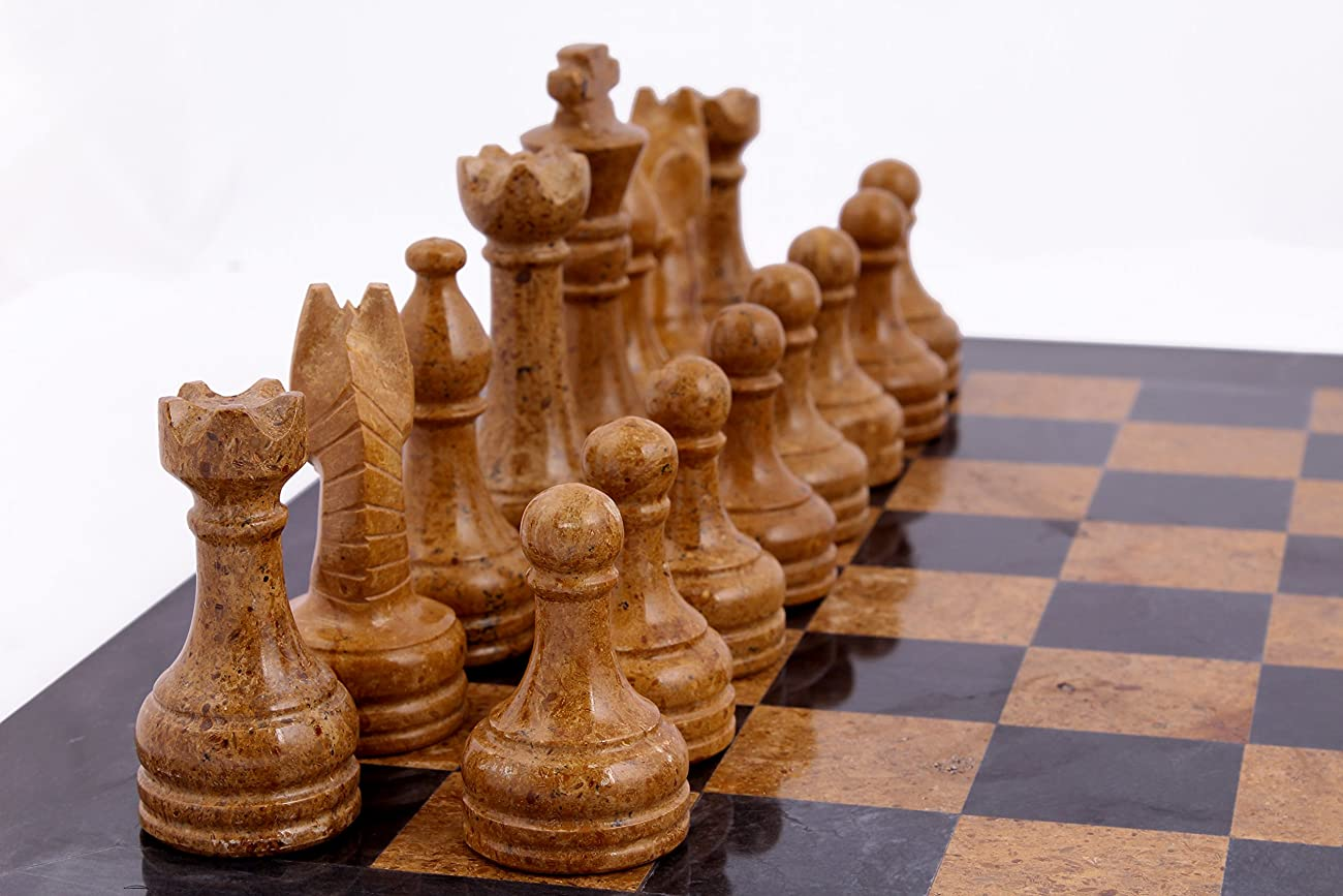 RADICAL 16 Inches Handmade Black and Golden Original Hand Crafted Marble Full Chess Game Set 4