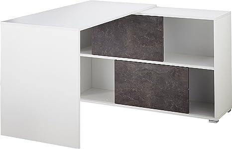 Germania 8710-261 GW-Altino Buromöbel-Set , beschichtete Spanplatte, weiß/basalto-dunkel, 120.00 x 200.00 x 180.00 cm
