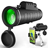 Monocular Telescope, High Power & HD Monocular with Universal Smartphone Holder for Bird Watching, Hunting, Camping, Hiking (Black)