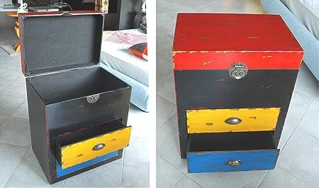 TxT Mueble de madera negro con tapa y 2 cajones, colores rojo, amarillo y azul, Tamaño: 52 x 35 x 63 cm
