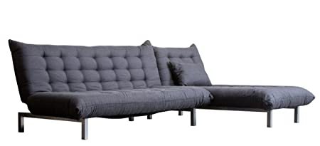 Abbyson Living Bedford Linen Convertible Sectional Sofa, Gray