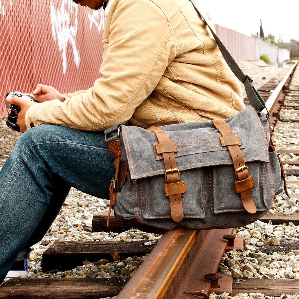GEARONIC TM Men's Vintage Canvas and Leather Satchel School Military Shoulder Bag Messenger 1