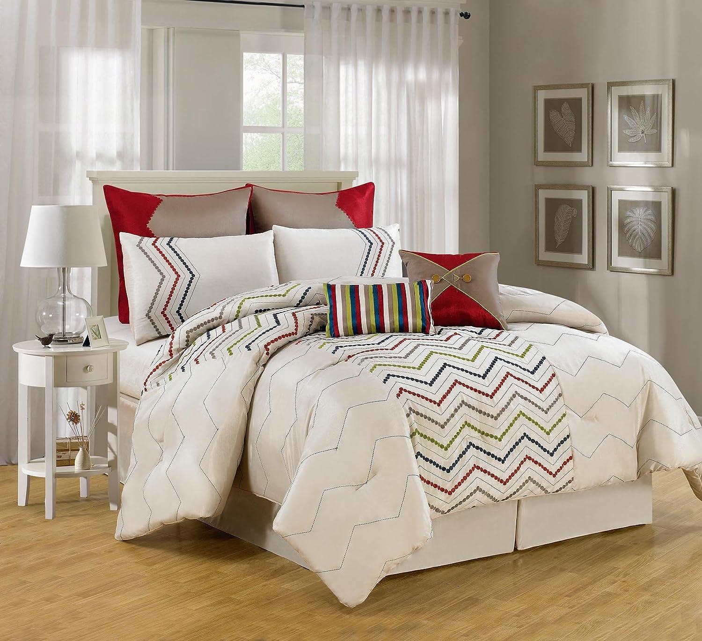 luxury home 8 piece chevron comforter collection. Black Bedroom Furniture Sets. Home Design Ideas