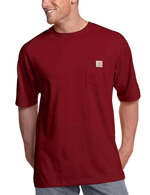 Carhartt Men's Workwear Pocket T-Shirt K87,  Dark Red,  Small