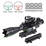 Pinty Rifle Scope 4-16X50EG Illuminated Optics Sight Green Laser, Holographic Dot Sight, Riser Mount 14 Slots Elevation & Windage Adjustment (Color: black, Tamaño: 4-16X50)