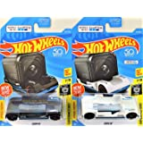 Hot Wheels Experimotors Zoom in White 341/365 and Black 242/365 2 Car Bundle Works with GoPro (Color: Multi)