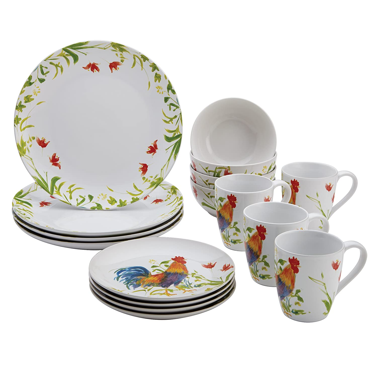 BonJour Meadow Rooster Dishes - Everything Log Homes