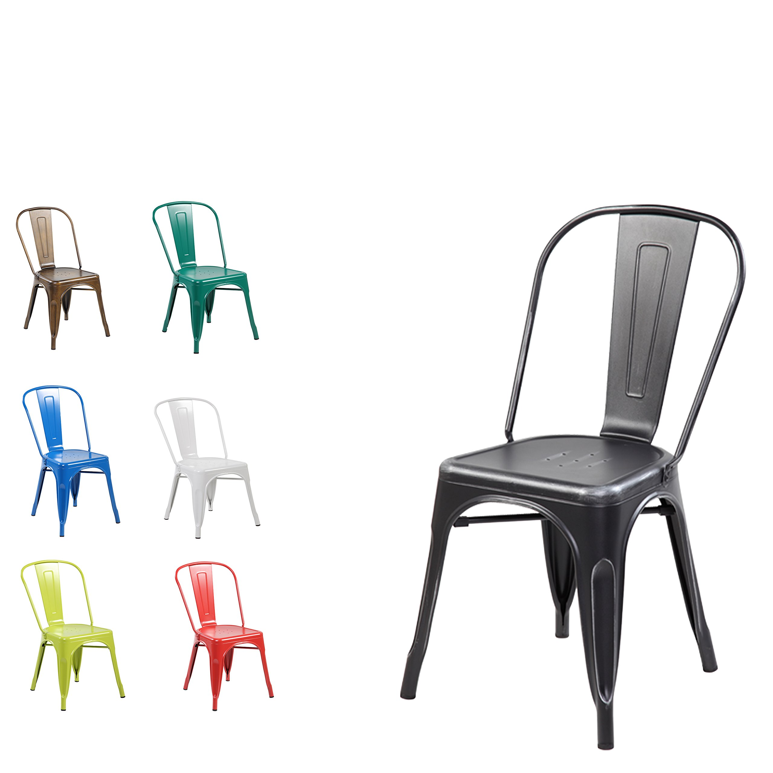 Modern Vintage Metal Stackable Dining Chairs With Backs