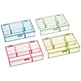 Darice 3-1/2-Inch by 4-1/2-Inch by 1-Inch Neon Plastic Organizer, Set of 4 (Color: Multi (Blue, Green, Yellow, Pink))