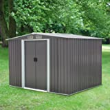 Peach Tree 8' x 6' Outdoor Backyard Metal Garden Utility Storage Shed Heavy Duty Tool House W/Sliding Door, Gray (Color: 8' x 6', Tamaño: 8' x 6')