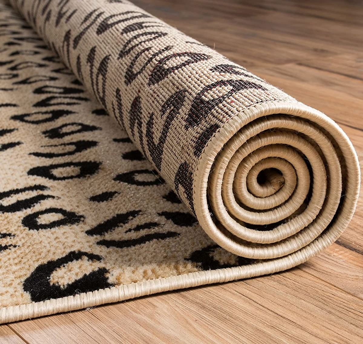 Well Woven Dulcet Leopard Black Ivory Animal Print Area Rug 5 X 72
