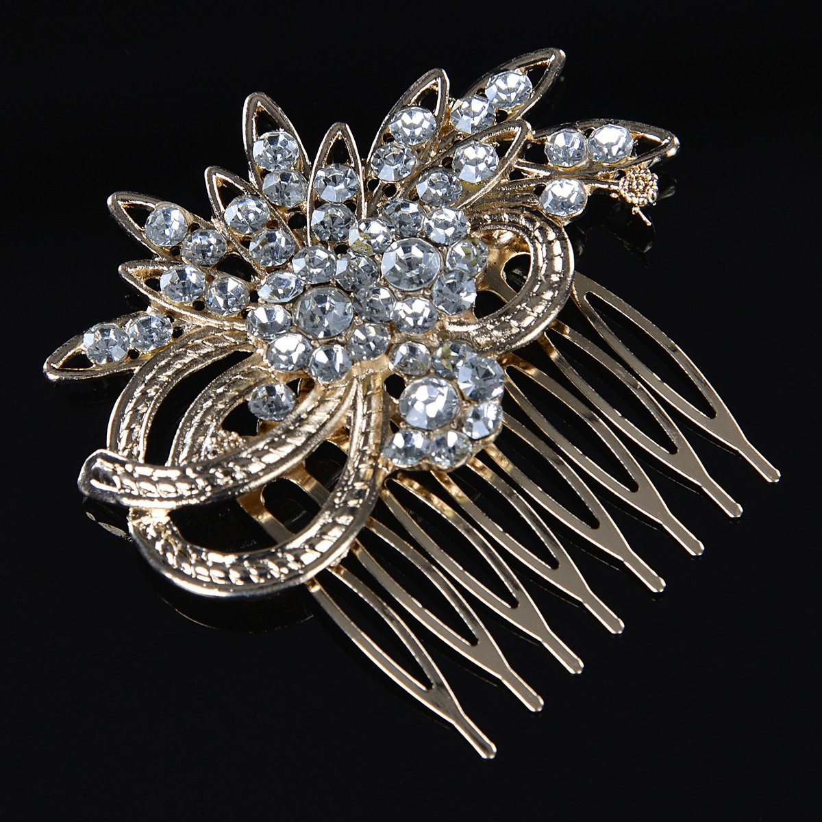 Remedios Vintage Crystal Bridal Hair Comb Wedding Hair Accessory, Light Gold 3