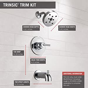Delta Faucet Trinsic 14 Series Single-Function Tub and Shower Trim Kit with Single-Spray H2Okinetic Shower Head, Chrome T14459 (Valve Not Included) (Color: Chrome, Tamaño: 8.00 x 6.50 x 8.00 inches)