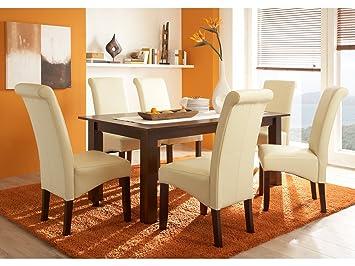 Massivum Tisch mit 6 Stuhle Logan, Holz, Creme kolonial, 90 x 180 x 75 cm