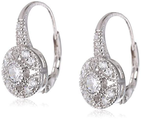 -925-Sterling-Silver-Cubic-Zirconia-Round-Shaped-Earrings