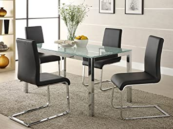 Homelegance Knox 5 Piece Crackle Glass Dining Room Set w/ Chrome Frame