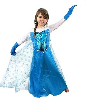 Longue robe de costume bleue pour enfant de la reine des glaces avec sa cape aux motifs flocon - Robe reine des glaces ...