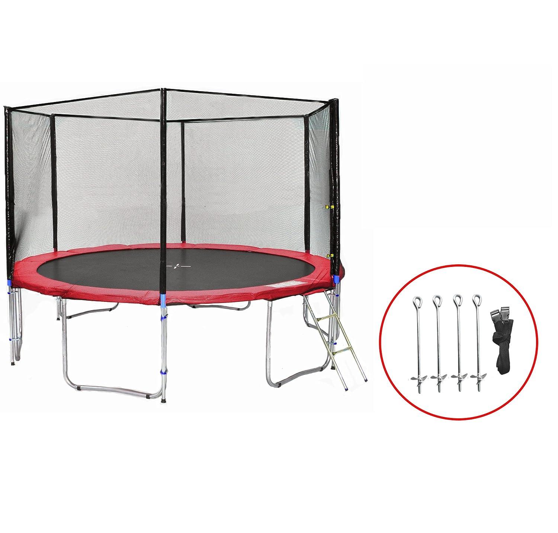 SB-430-RA Gartentrampolin 430cm incl. Netz, Leiter & Bodenanker Set , 180kg Traglast
