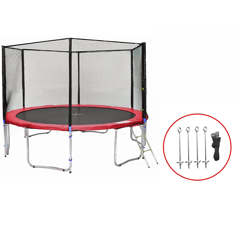 SB-400-RA Gartentrampolin 400cm incl. Netz, Leiter, Bodenanker, 180kg Traglast günstig