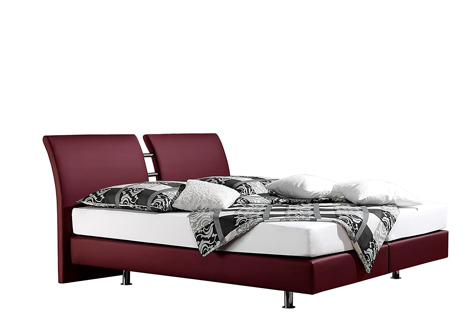 Maintal Betten 236816-4793 Boxspringbett Polo 180 x 200 cm, kunstleder bordeaux