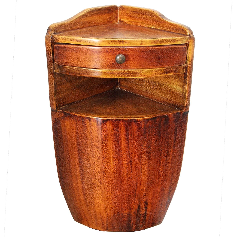 Satodà – Eckiger;ngender Nachttisch aus Holz mit Schublade und Messing-Knopf