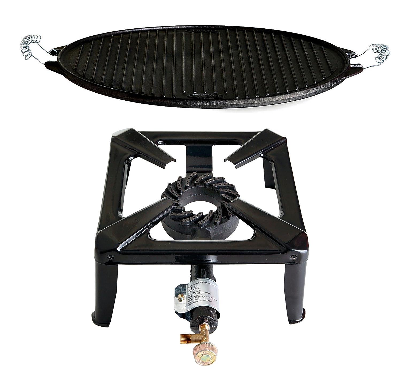 Hockerkocher mit 8.5 kW Leistung, Abmessung 30 x 30 x 15 cm und Gusseisengrillplatte Light Ø 38 cm jetzt kaufen