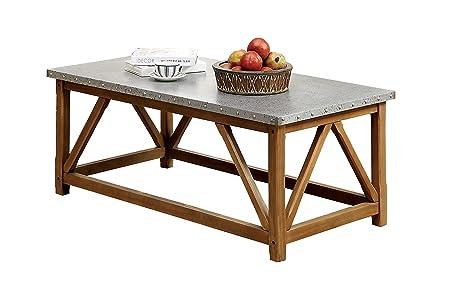Furniture of America Nalli Industrial Iron Top Coffee Table, Natural