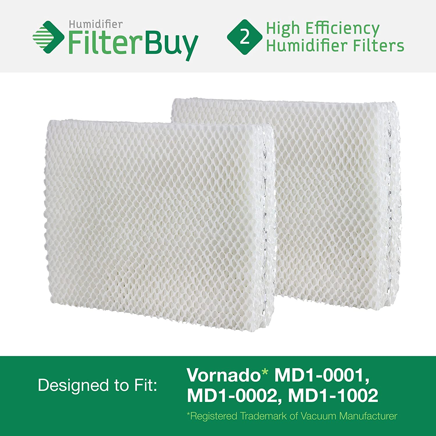 Vornado MD1-0001, MD1-0002, MD1-1002 Humidifier Wick Filter. Designed by FilterBuy to fit all Vornado Evaporative Humidifiers. Pack of 2 Filters