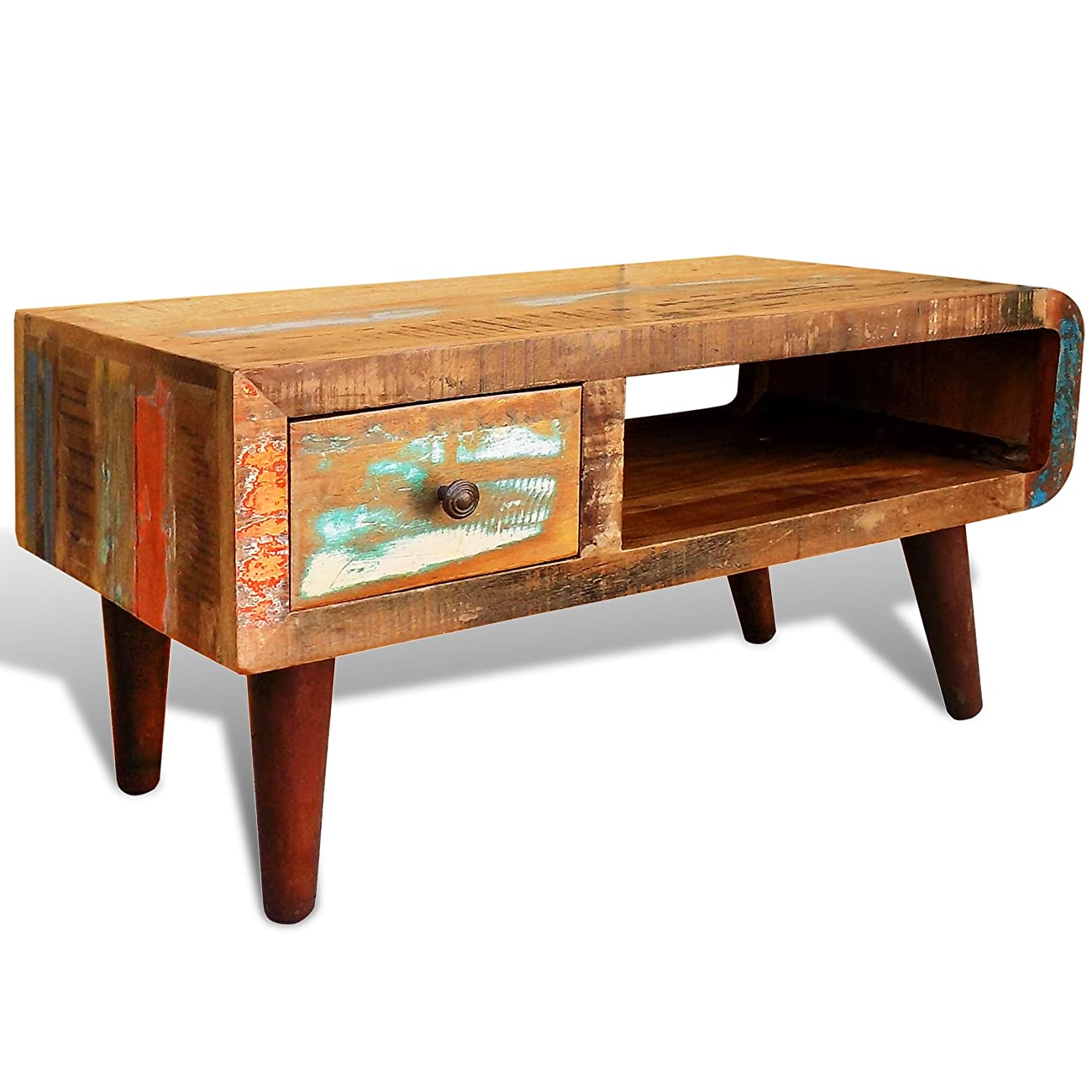 vidaXL Antique-style Reclaimed Wood Coffee Table Curved Edge 0