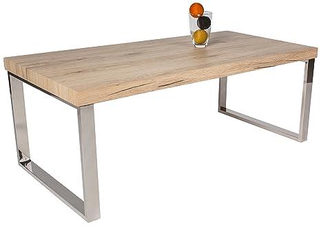 HL Design, Tavolino da salotto Ricardo, spessore del materiale: 40 mm, gambe in acciaio inox, Bianco (Weiß)