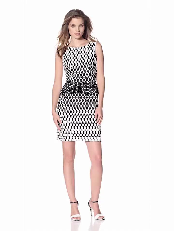 Donna Morgan Womens Sleeveless Peplum Dress With V Back