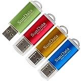 SunData 4 Pack 16GB USB 2.0 Flash Drive Thumb Drives Memory Stick, 4 Colors: Blue Green Gold Red