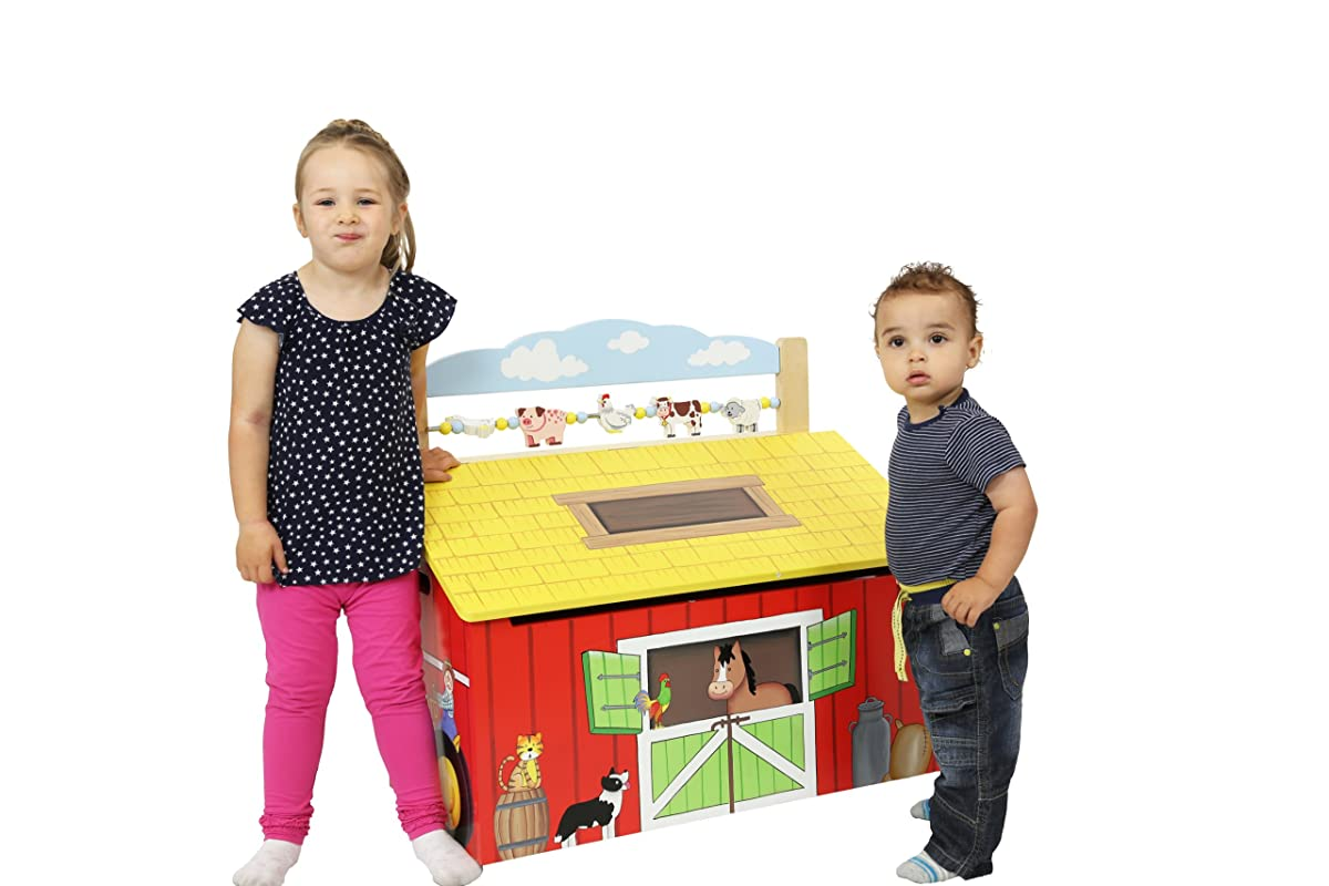 Happy Farm Animals Thematic Kids Wooden Toy Chest