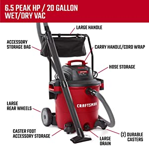 CRAFTSMAN CMXEVBE17656 20 gallon 6.5 Peak Hp Wet/Dry Vac with Cart, Heavy-Duty Shop Vacuum with Attachments (Tamaño: 20 Gallon 6.5 Peak HP w/Cart)
