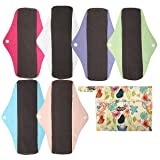 7pcs Set 1pc Mini Wet Bag +6pcs 10 Inch Regular Charcoal Bamboo Mama Cloth/ Menstrual Pads/ Reusable Sanitary Pads (Solid) (Color: Solid, Tamaño: 10 inch)
