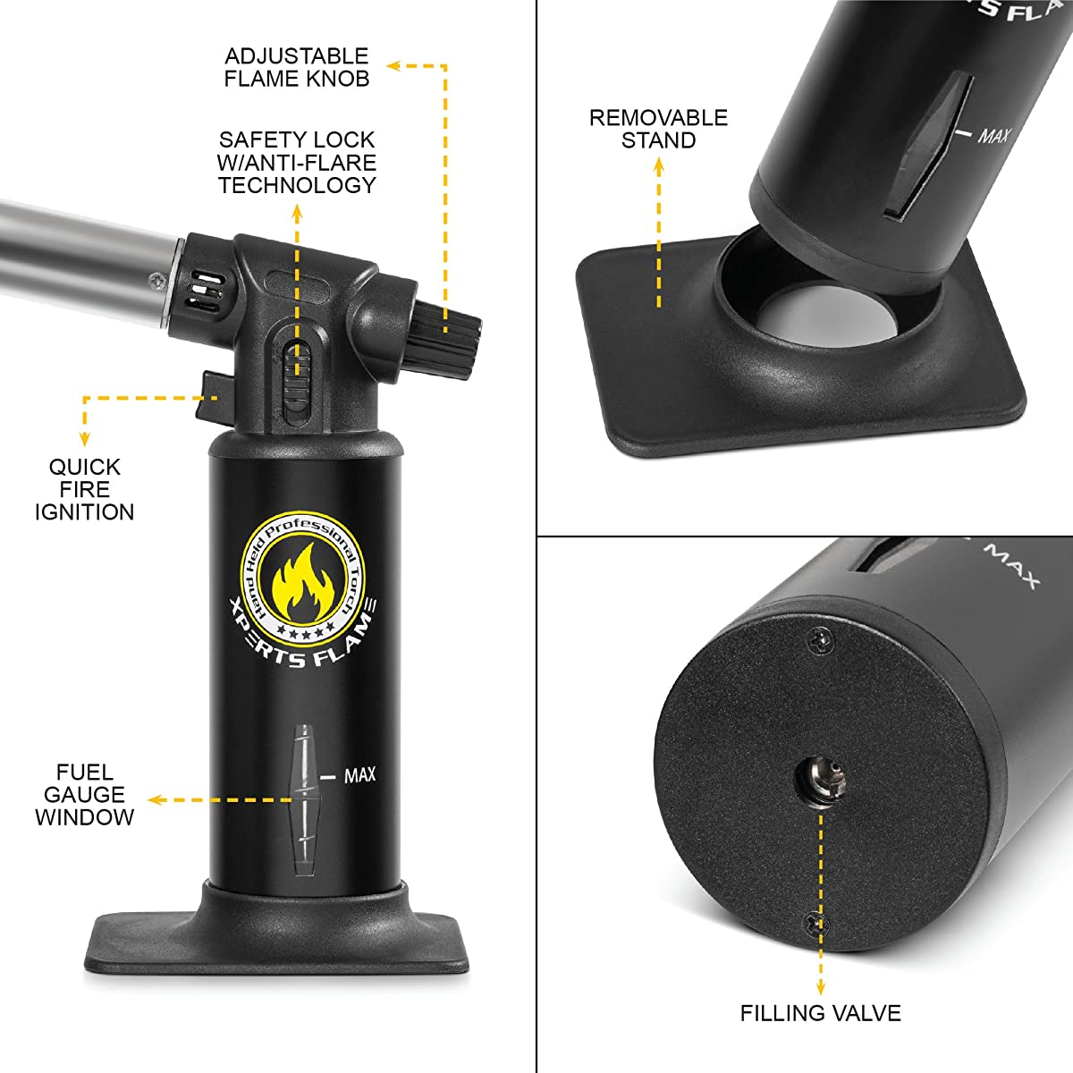 Kitchen Torch | Culinary Torch For Creme Brulee | Butane Blow Torch For Home & Pro Chefs | Safety Lock & Adjustable Flame | Free Bonus: Stand & BBQ Recipe E-Books | By XPERT'S FLAME. (BLACK)