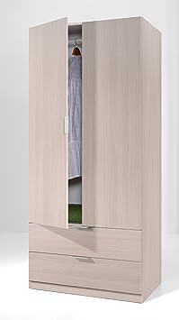 Armario con 2 puertas y 2 cajones para dormitorio o habitación en color roble, 181x81x52cm