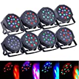 SUNCOO 8Pack LED Par Can Lights Uplights DMX Stage Light 18LEDs DMX Lighting 7 Modes DMX Control Sound Activated for Stage Lighting Club Party Show DJ Diso KTV,8 Pieces 18x3Watts (Color: Black, Tamaño: 8 PACK)