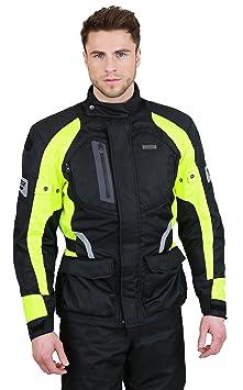 NERVE 1511151925_02 Spark Blouson Moto Touring Textile, Noir/Vert Fluo, Taille : S