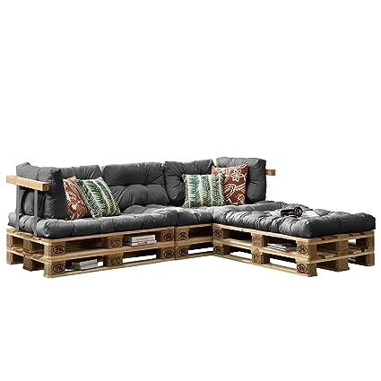 [en.casa] Euro Paletten-Sofa - DIY Möbel - Indoor Sofa mit Paletten-Kissen / Ideal fur Wohnzimmer - Wintergarten (3 x Sitzauflage und 5 x Ruckenkissen) Grau