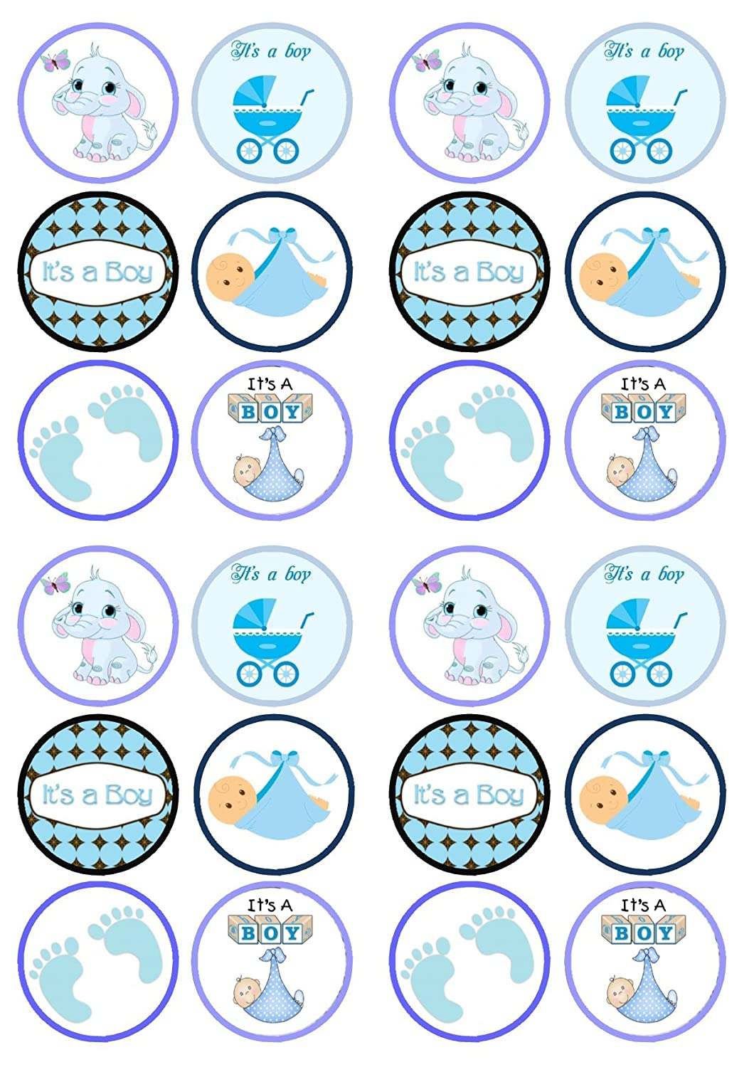Edible cupcake decorations baby shower - It S A Boy Baby Shower Premium Thickness Sweetened Vanilla Wafer Rice Paper Cupcake Toppers Decorations 24 Edible Wafer Rice Paper Designs 4 5cm In Size