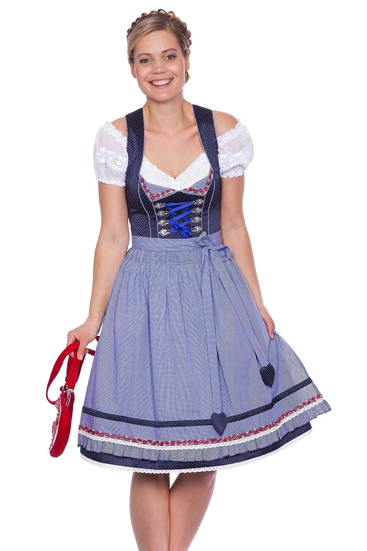Damen Dirndl kurz 60cm blau gepunktet von Krüger Madl günstig kaufen