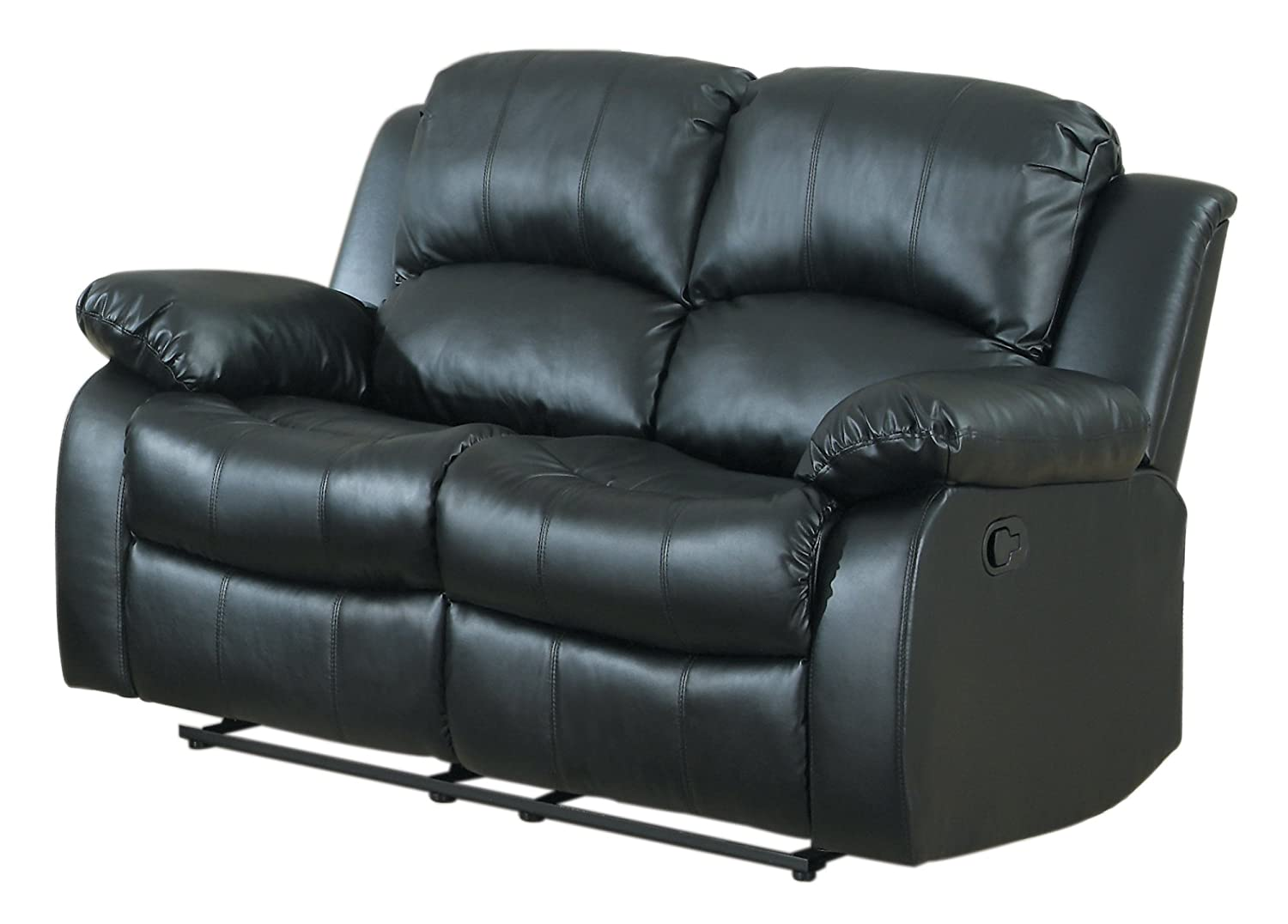 Homelegance Double Reclining Loveseat - Black Bonded Leather