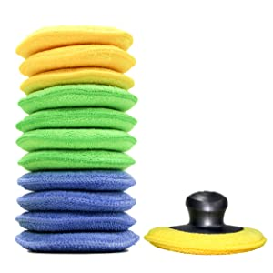 Green, 8 Pack Polyte Microfiber Detailing Wax Applicator Pad 5 in,