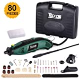 Rotary Tool 8,000-35,000 RMP TECCPO, with Variable Speed, 80-Piece Accessories, Upgraded Flex Shaft, Universal 3-Jaw Chuck, 3 Attachments, Cutting Guide and Carrying Case-Green (Color: TART04P, Tamaño: Corded Rotary Tool)