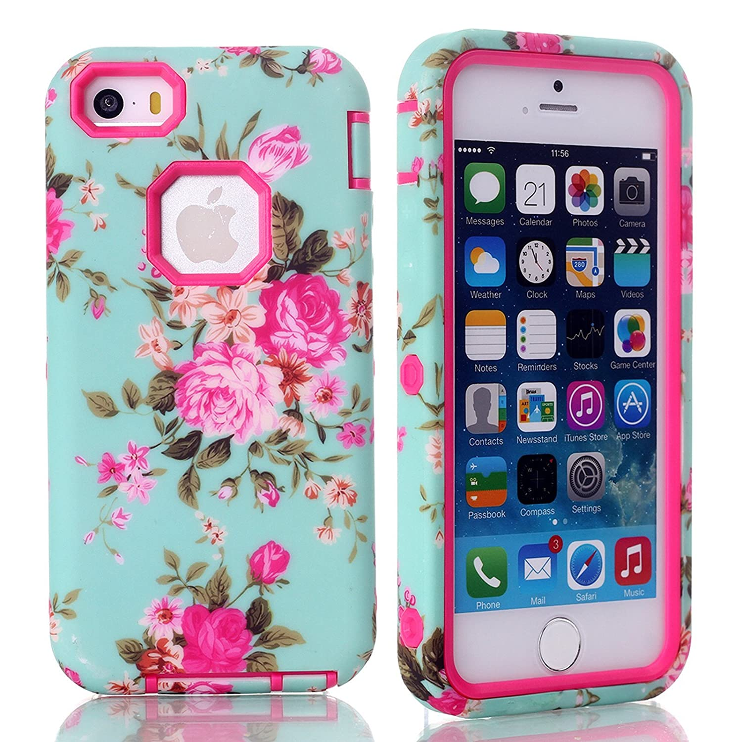 iPhone SE Case, Firefish Armor (Dual Bumper) Slim Fit (PC+Silicone) Rugged Shockproof (Peony Series) (Detachable) Shield Case for Apple iPhone SE/5/5S( Not for 5C)+One stylus-Rose