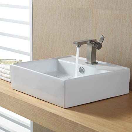 Kraus C-KCV-150-14601BN White Square Ceramic Sink and Sonus Basin Faucet Brushed Nickel