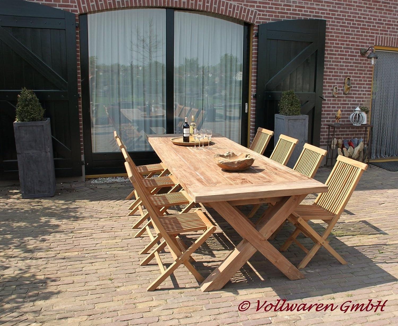"""TEAK GARTENTISCH """"BRAHN"""" 240×100 Teakholz antik massiv Tisch Tafel Gartenmöbel jetzt kaufen"""